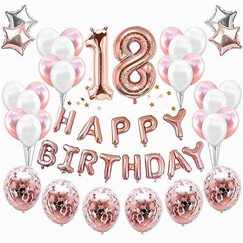 Happy 18th Birthday Banner Rose Gold 18th Birthday Party Decorations Amazon Com