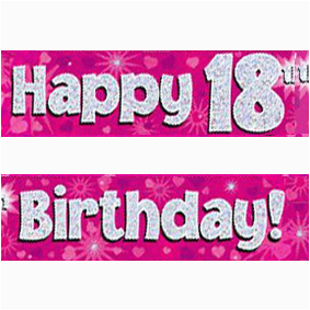 pink silver holographic happy 18th birthday banner c2x13821396