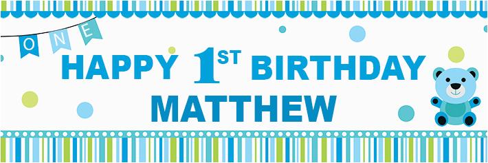 happy 1st birthday banner blue spots theme