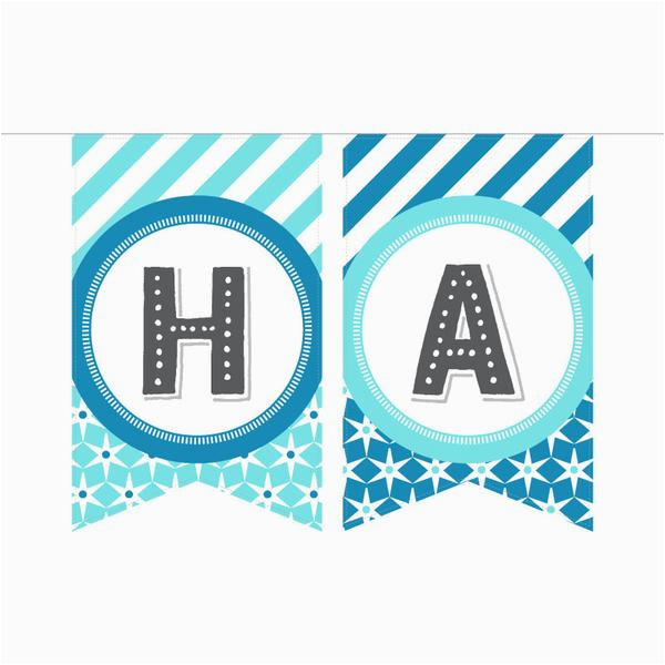 Happy 1st Birthday Banner Blue Printable Birthday Banner In Blues Gray Especially Paper