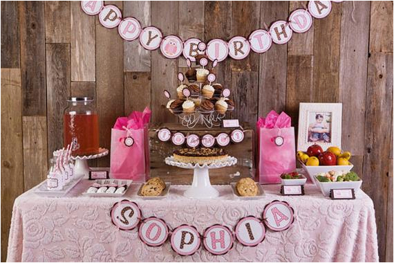 pink owl theme happy birthday banner