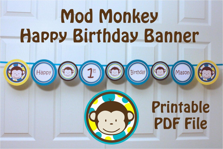 Happy 1st Birthday Banner Tesco Mod Monkey Banner Happy 1st Birthday Banner with Name