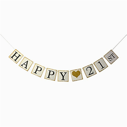 happy 21st birthday banner gold glitter forever 21 party favors supplies gifts themes and ideas vintage happ ap b01n7l4yta