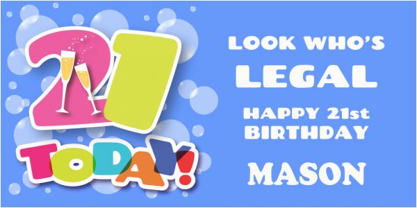 happy 21st birthday for boy banner 2 x 4