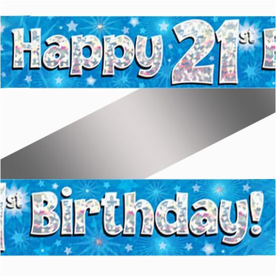 holographic happy 21st birthday banner 2
