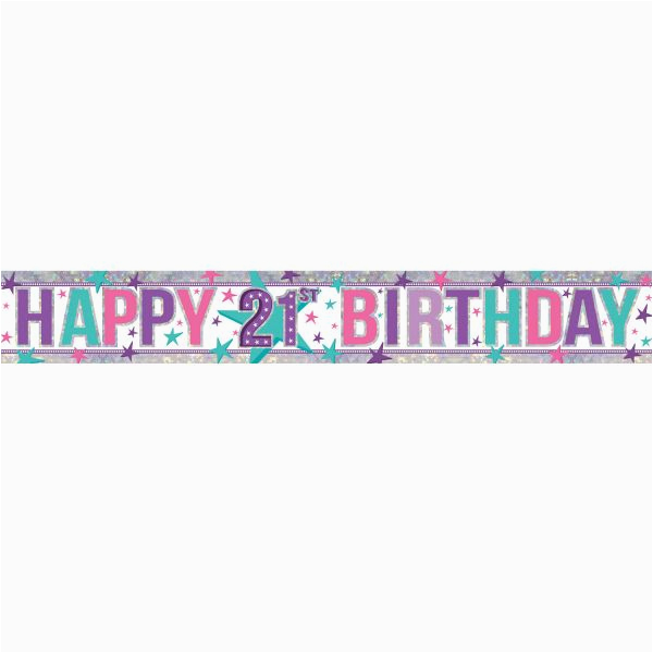happy 21st birthday pink banner 27m 37998 p