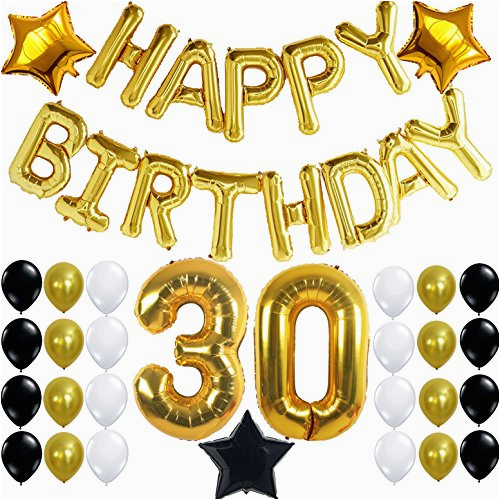 37160713 30th birthday party decorations kit happy birthday letters 30th gold number balloons gold black and white latex balloons number 30 perfect 30 years old party supplies free bday printable checklist