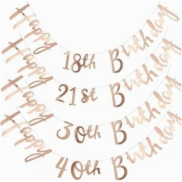 Happy 30th Birthday Banner Rose Gold Rose Gold Happy Birthday Banner 18th 21st 30th 40th