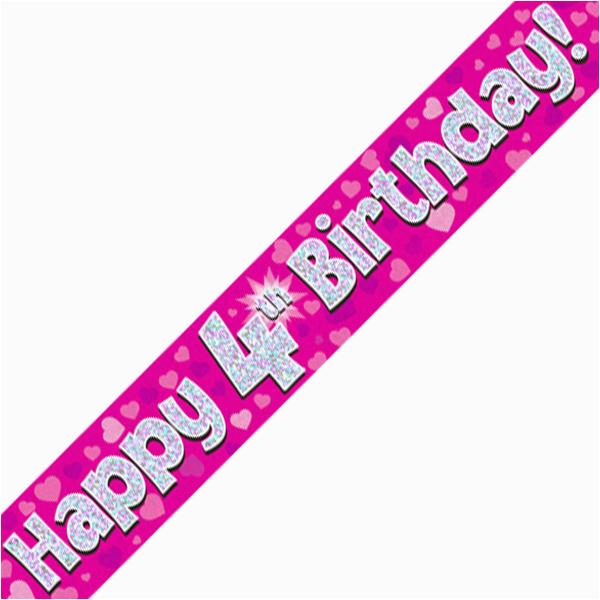 4th happy birthday banner pink holographic 9 ft
