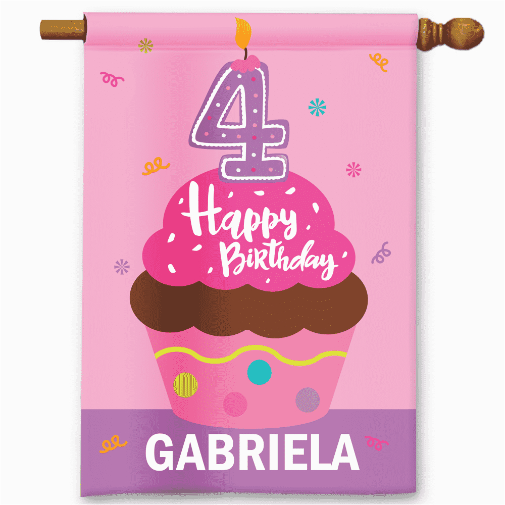 happy 4th birthday personalized pink cupcake girls birthday party bannergarden flag