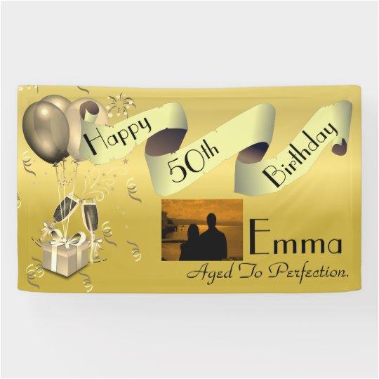 Happy 50th Birthday Banner Personalised Custom Idea Happy 50th Birthday Banner