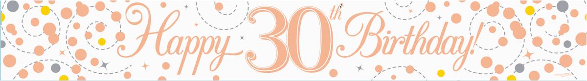 Happy 50th Birthday Banner Rose Gold Sparkling Fizz Rose Gold White 30th Birthday Banner