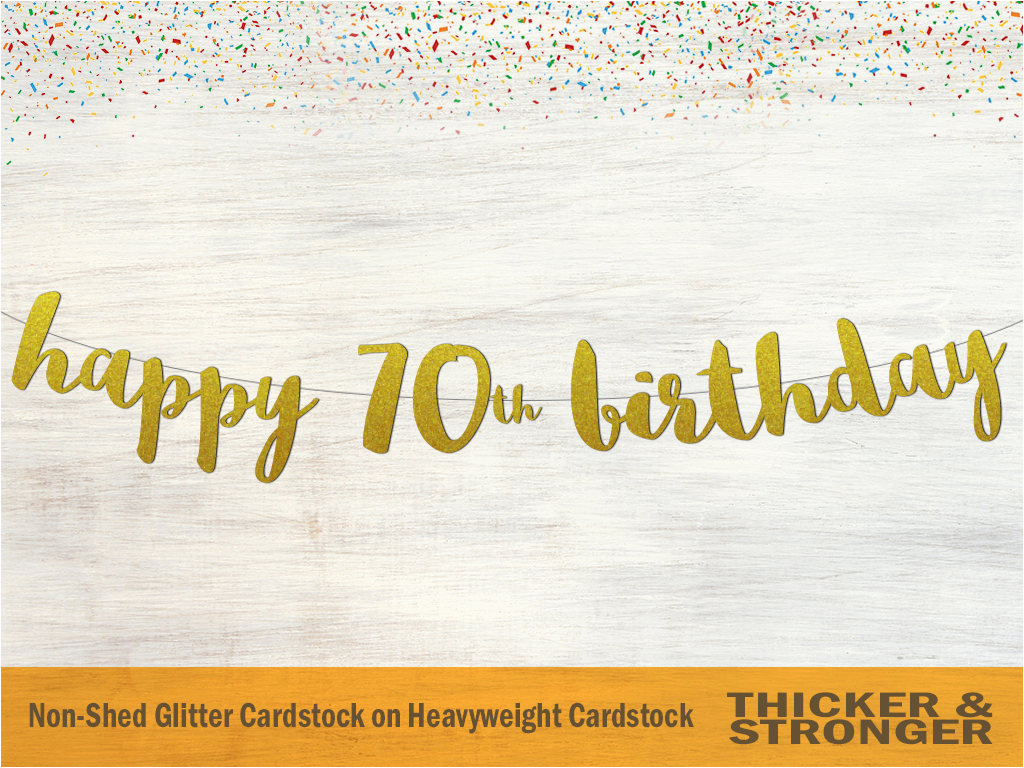 happy 70th birthday banner script font