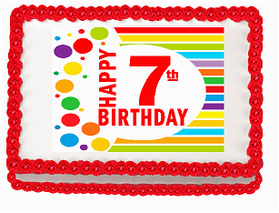 happy 7th birthday edible peel n stick frosting photo image cake decoration topper p 28380