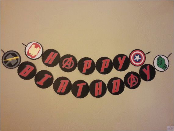 Happy 7th Birthday Banners Happy Birthday Avengers themed Banner by Alllayedout On