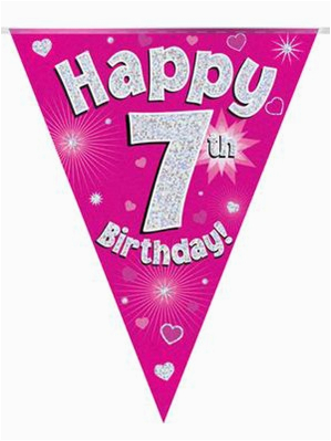 pink happy 7th birthday holographic flag banner 13596