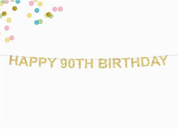 happy 90th birthday glitter banner 90th