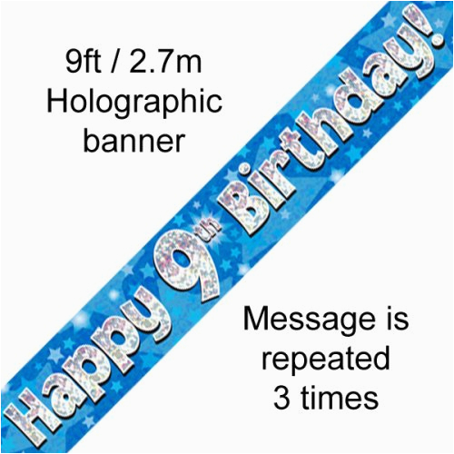blue holographic happy 9th birthday banner 2 7m p1