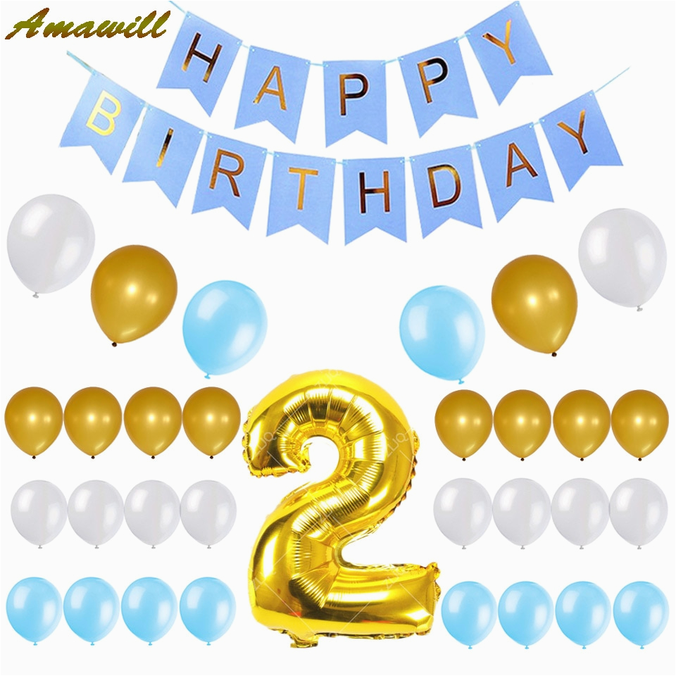 Happy Birthday Balloon Banner Blue Amawill Baby Boy 2nd Birthday Set Happy Birthday Blue