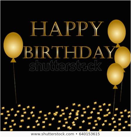 balloons happy birthday on black gold 640153615