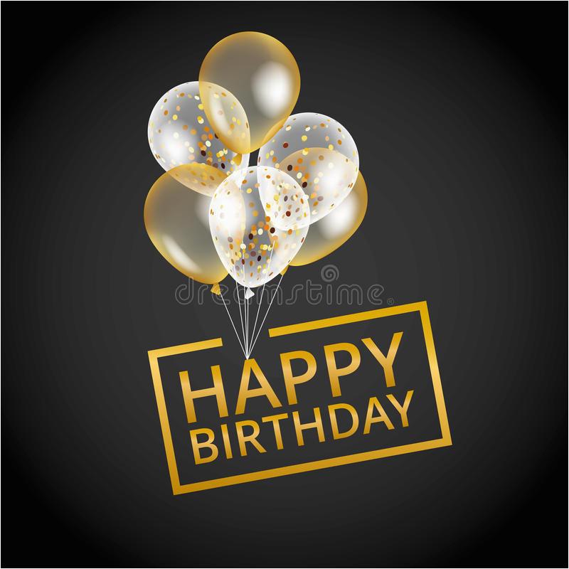 Happy Birthday Balloon Banner Gold Balloons Happy Birthday Stock Vector Illustration Of