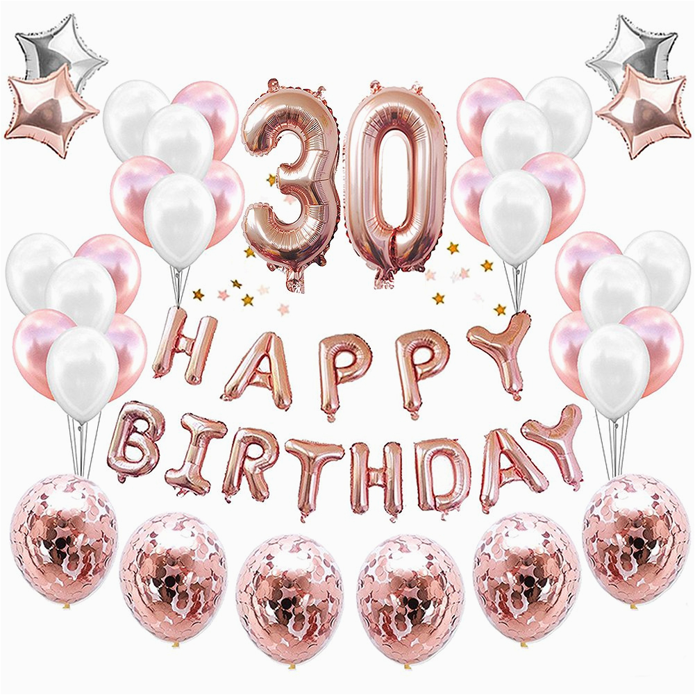 Happy Birthday Balloon Banner Rose Gold 33pcs Rose Gold Number 18 30 40 50 60 Balloons Happy