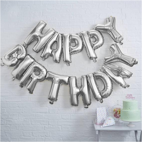 happy birthday balloon bunting silver