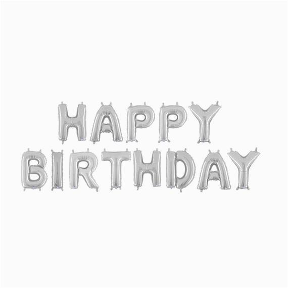 happy birthday silver letter balloons happy