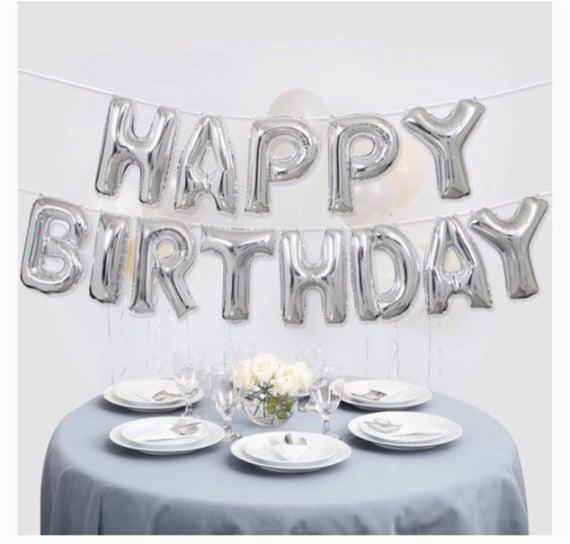 Happy Birthday Balloon Banner Silver Silver Happy Birthday Balloon Banner Happy Birthday Silvet