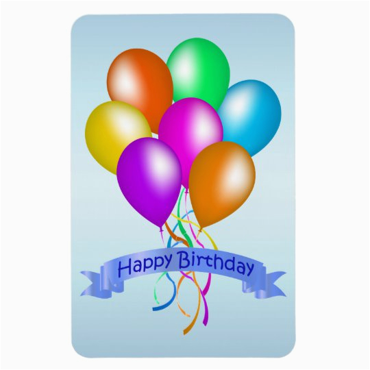 colorful happy birthday balloons banner party magnet 160795411613057348