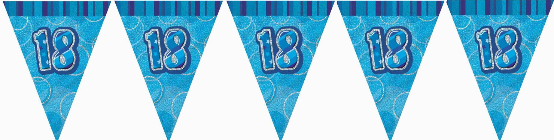 blue glitz 18th birthday flag banner 1010 p