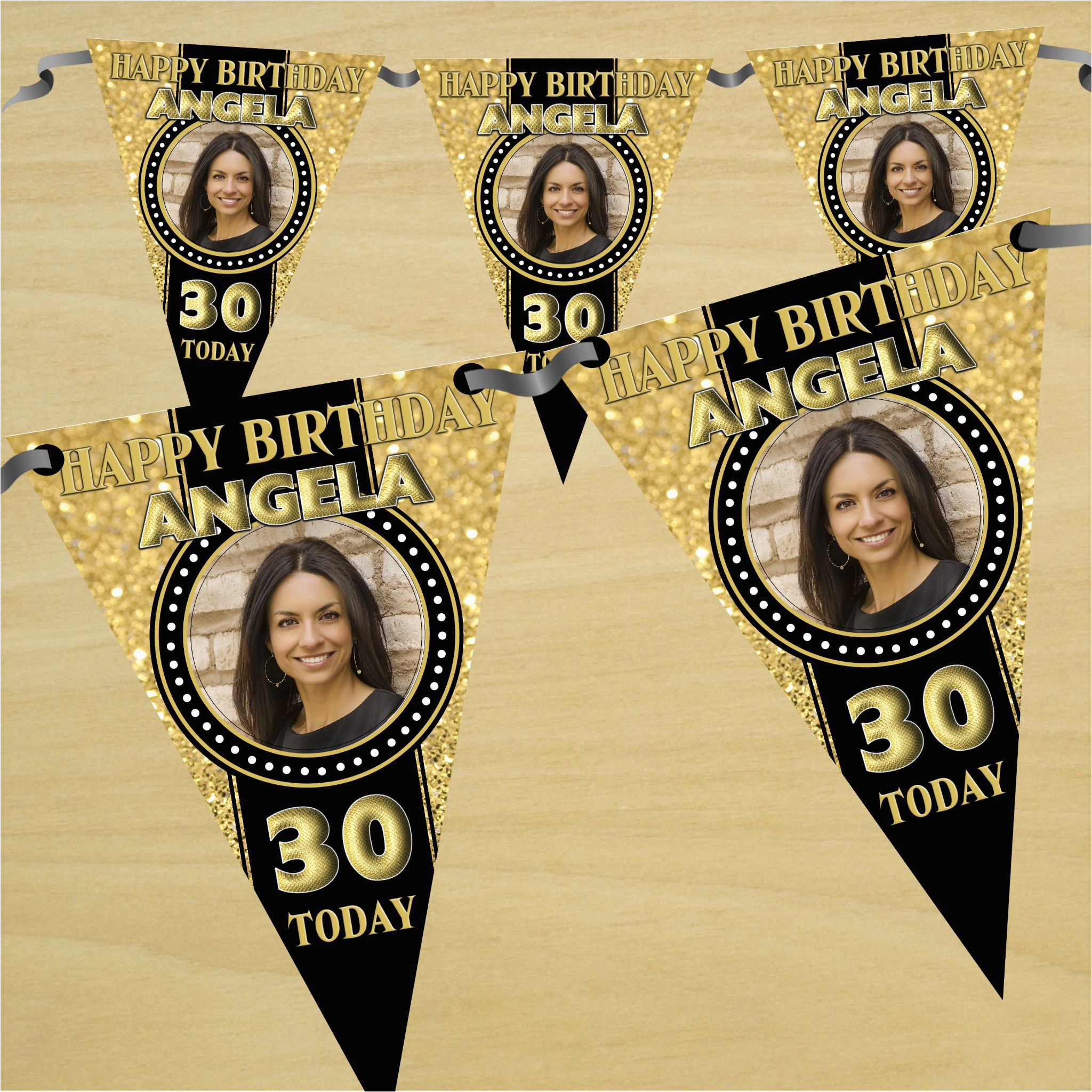 personalised black gold happy 18th 21st 30th 40th birthday flag photo bunting banner n47 any age 14050 p