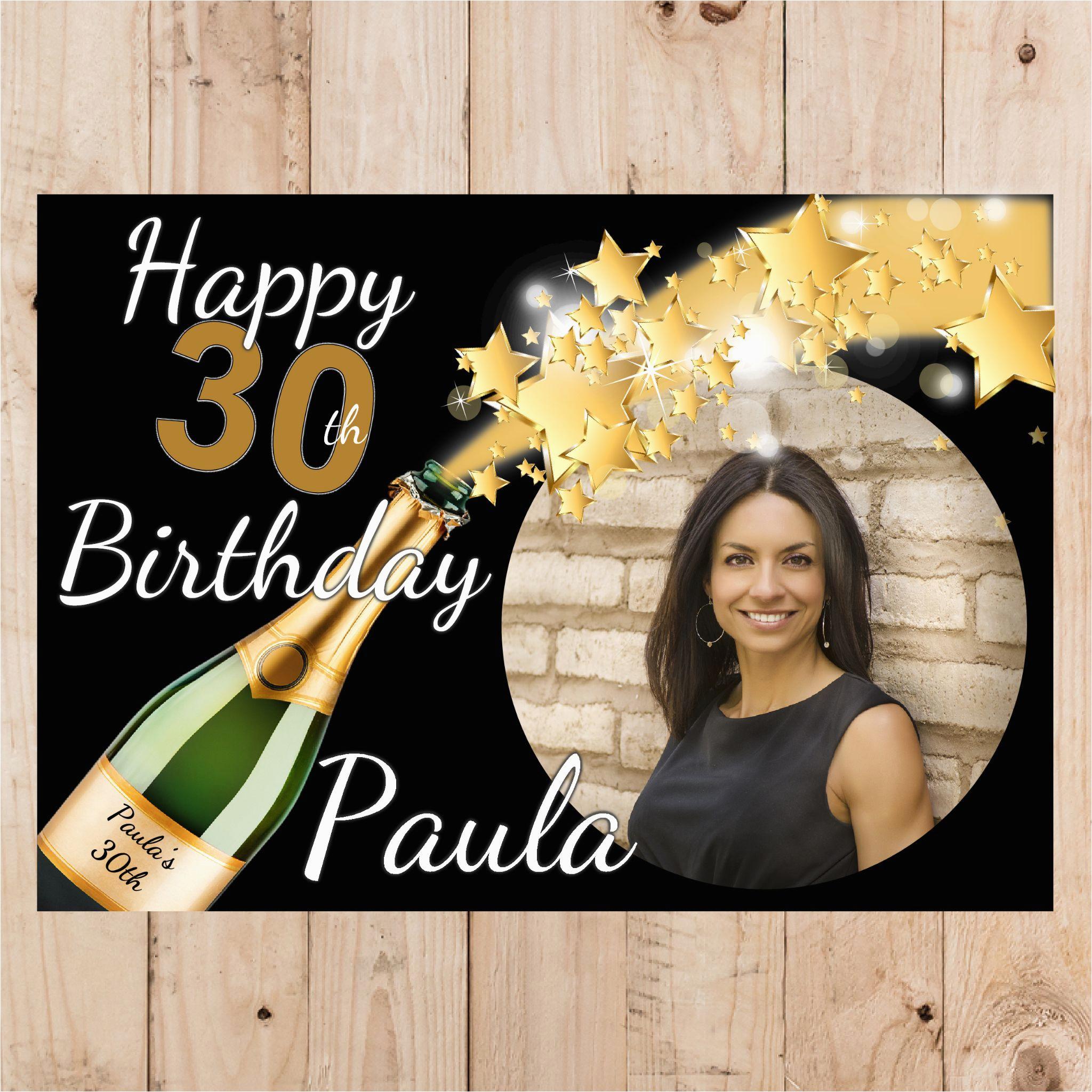 personalised champagne starburst happy birthday photo poster banner n54 14065 p