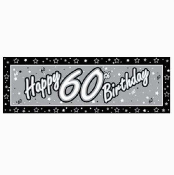 happy 60th birthday black silver giant birthday party banner