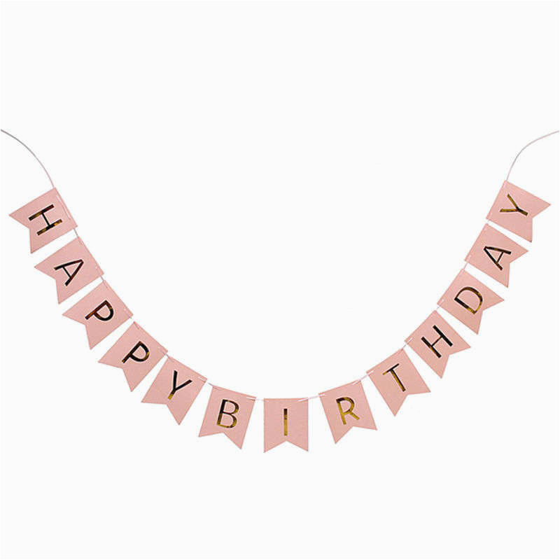 happy birthday banner bunting in pink