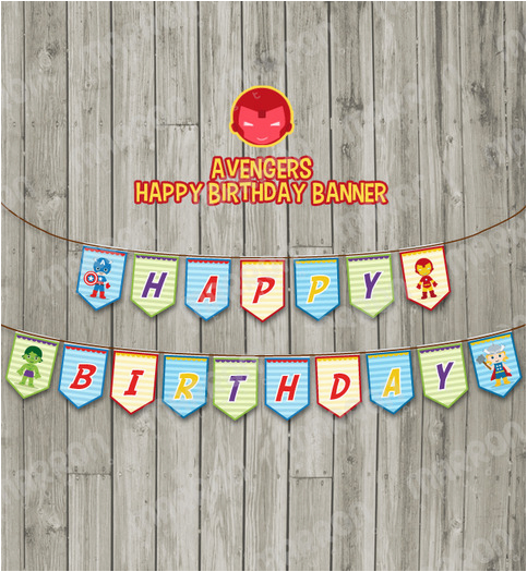 5464279 avengers superhero inspired happy birthday party banner digital download diy