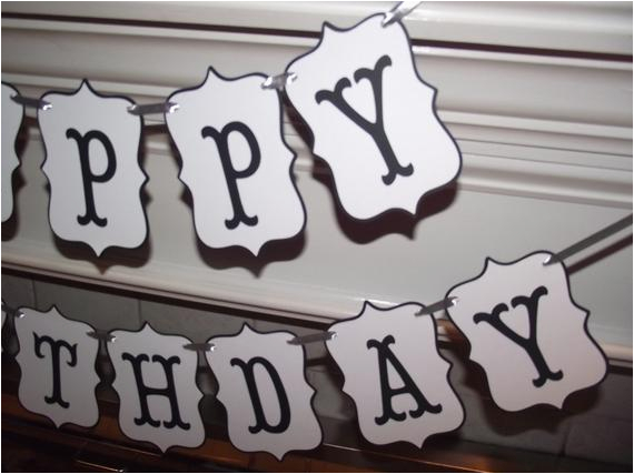 happy birthday banner in black and white
