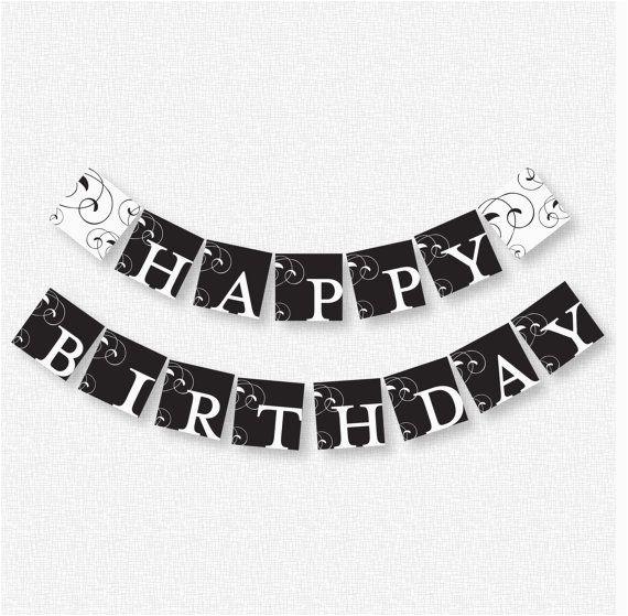 post happy birthday banner printable black and white 340038