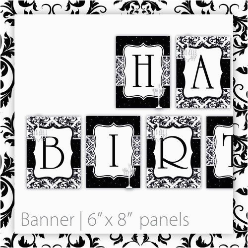 free printable happy birthday banner black and white