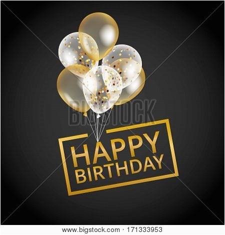 stock vector balloons happy birthday on black gold balloon sparkles holiday background happy birthday to you logo 2c card 2c banner 2c web 2c design happy birthday and new year card gold white transparent balloon background