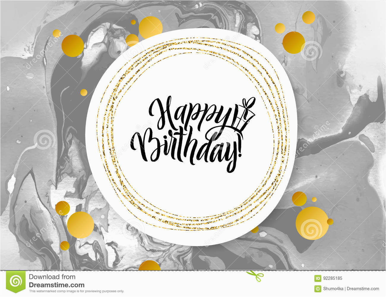 stock photo happy birthday black marble texture card shimmer golden banner template white background vector illustration gold foil glitter image92285185
