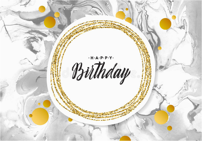 stock photo happy birthday black marble texture card shimmer golden banner template white background vector illustration gold foil glitter image92285278