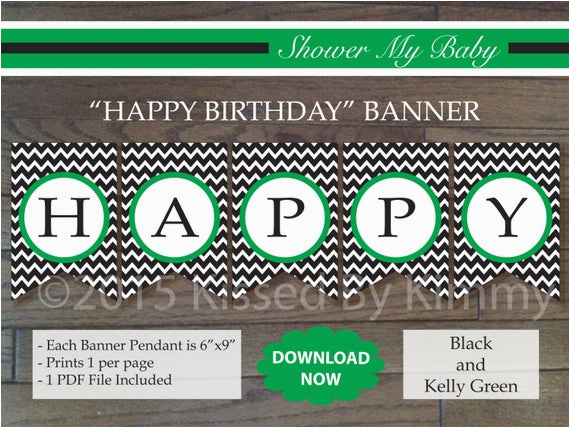 black kelly green happy birthday banner