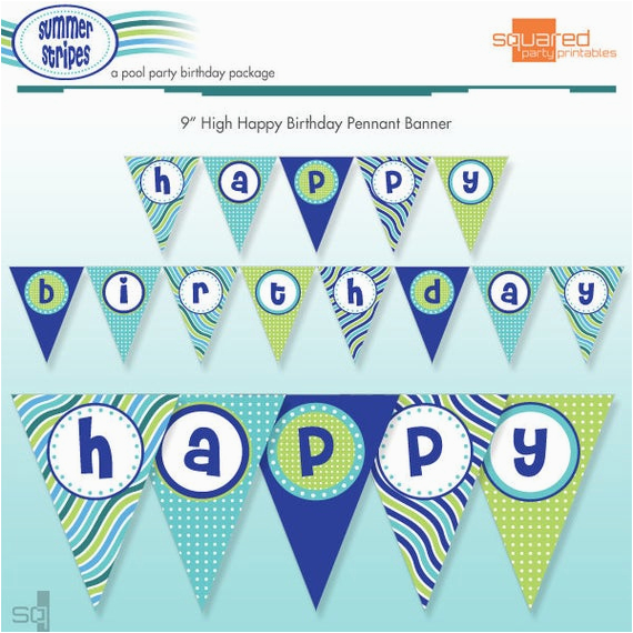 printable pool party happy birthday
