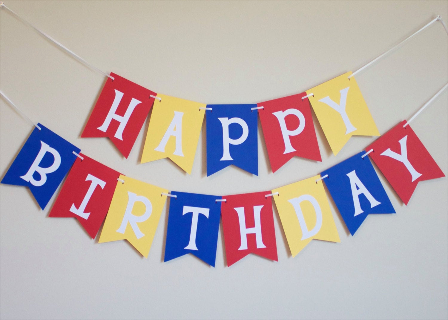 happy birthday banner in red yellow and