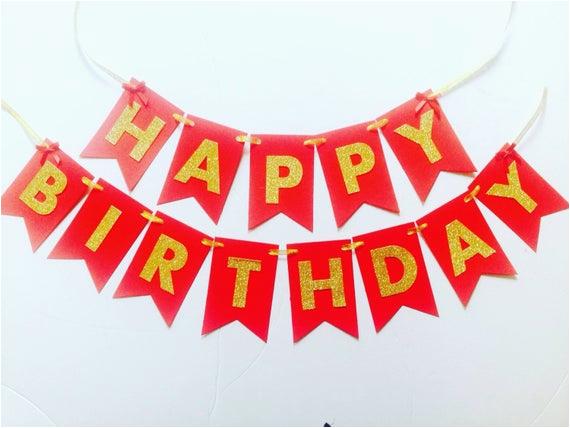 gold glitter red happy birthday banner