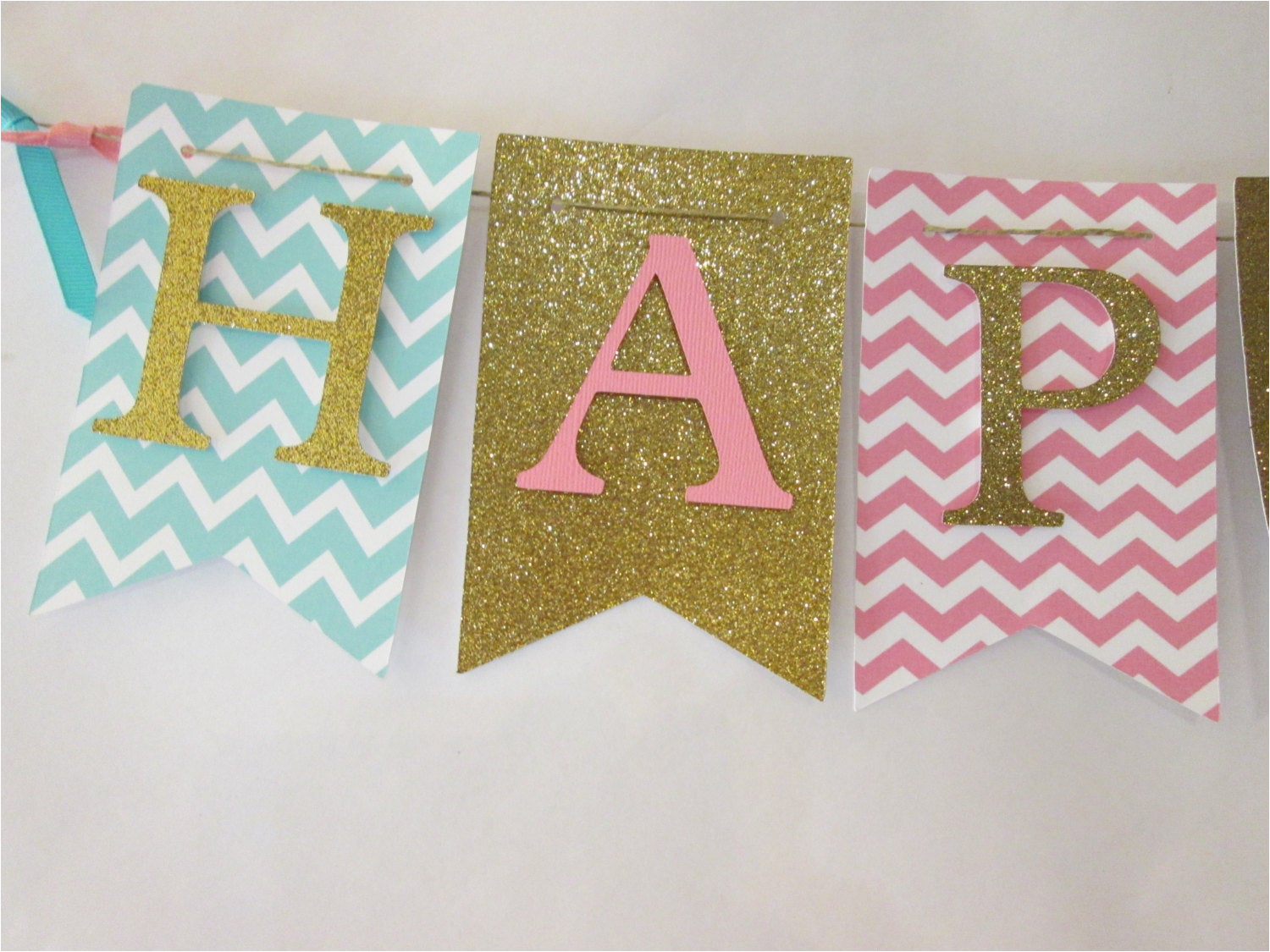 pink teal and glitter gold happy