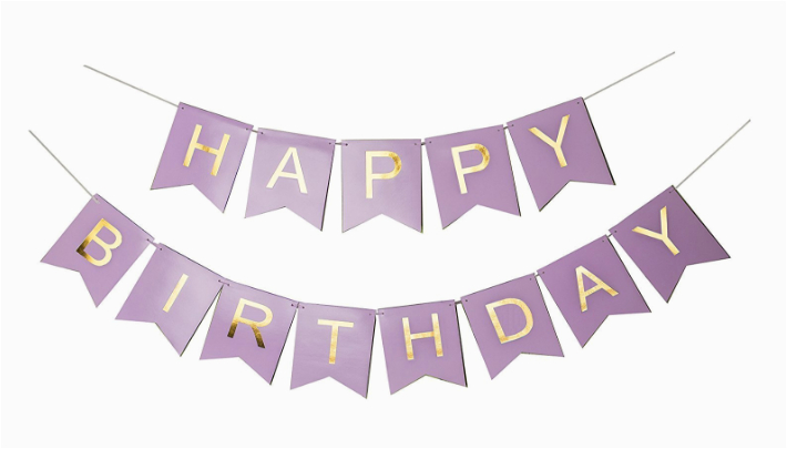 sonder co happy birthday banner purple and gold foil letters birthday decorations for girls