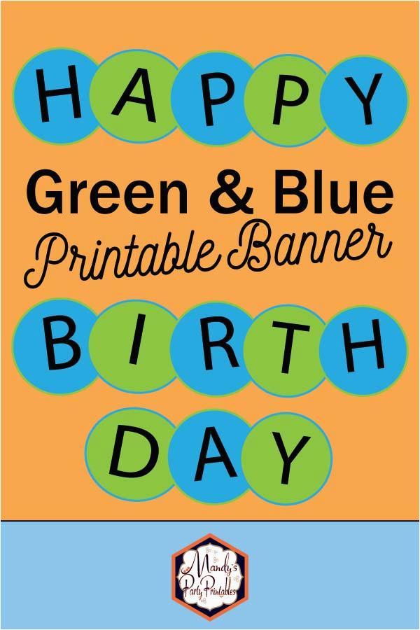 blue green circle happy birthday banner