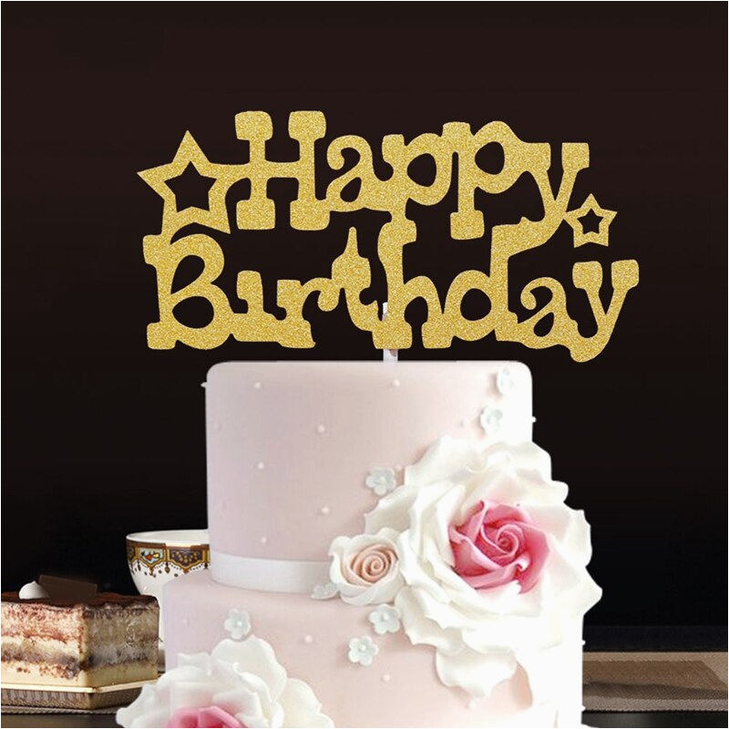 Happy Birthday Banner Cake topper Diy 2pc Set Glitter Happy Birthday Flag Cake topper Party